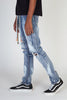 Paint Splatter Skinny Jeans With Multi-Color Drawstrings (Medium Blue)