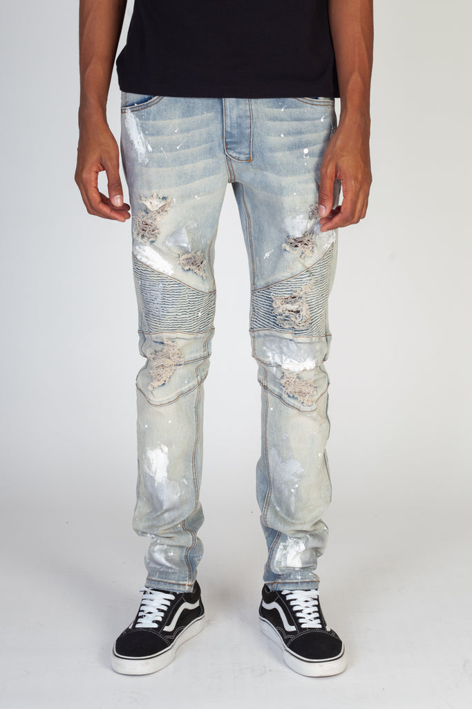 Moto Jeans With Metallic Silver Paint (Blue)