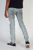 Pintucked Patched Skinny Jeans (Blue)
