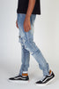 Destroyed Skinny Jeans With Printed Ankle Cuff (Medium Blue)