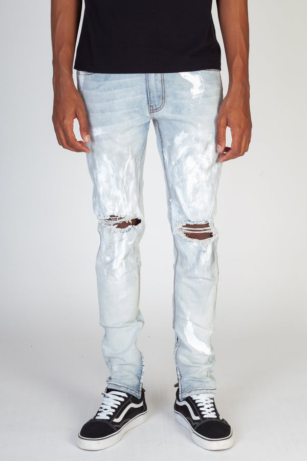 Silver Painted Ankle Zip Jeans (Blue)