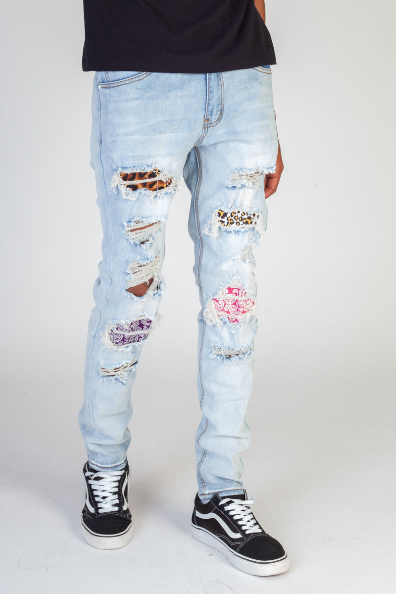 Multi-Patch Jeans (Light Blue)