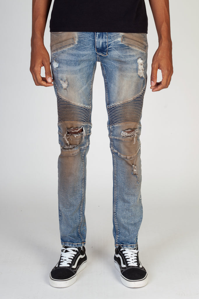 Destroyed Moto Jeans (Rusty Blue)