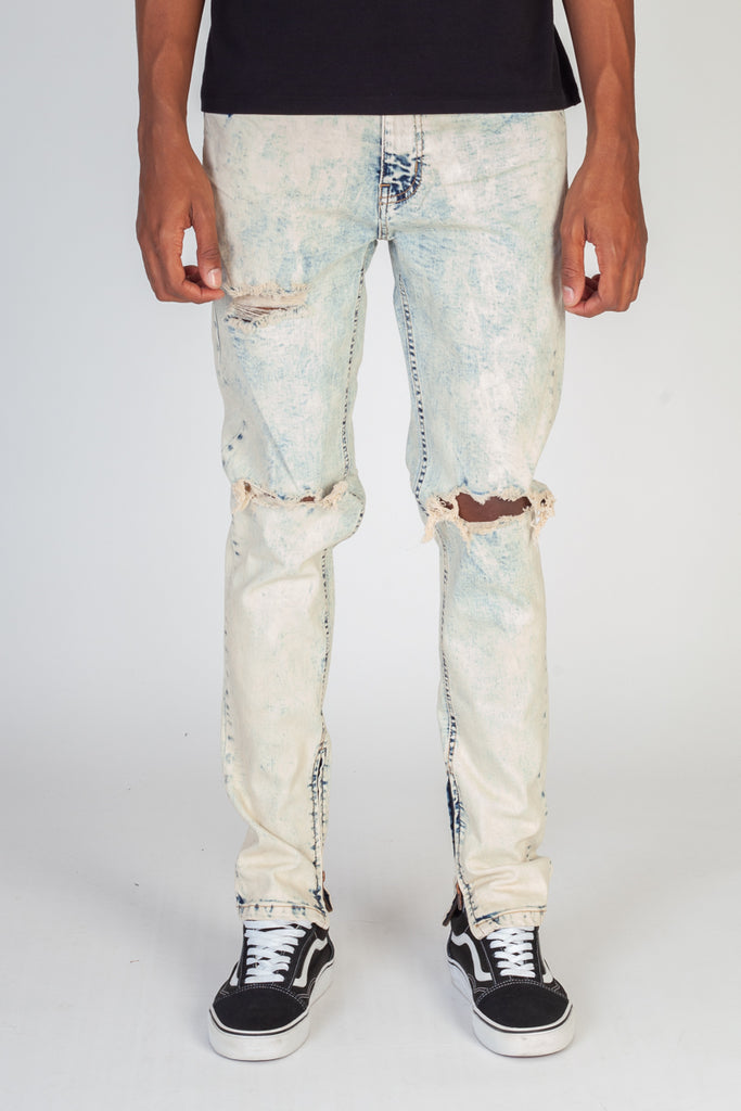 Destroyed Knee Ankle Zip Jeans (Tinted Ice Blue)