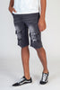 Paisley Patched Shorts (Dark Medium Gray)