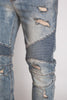Destroyed Moto Ankle Zip Jeans (Medium Vintage)