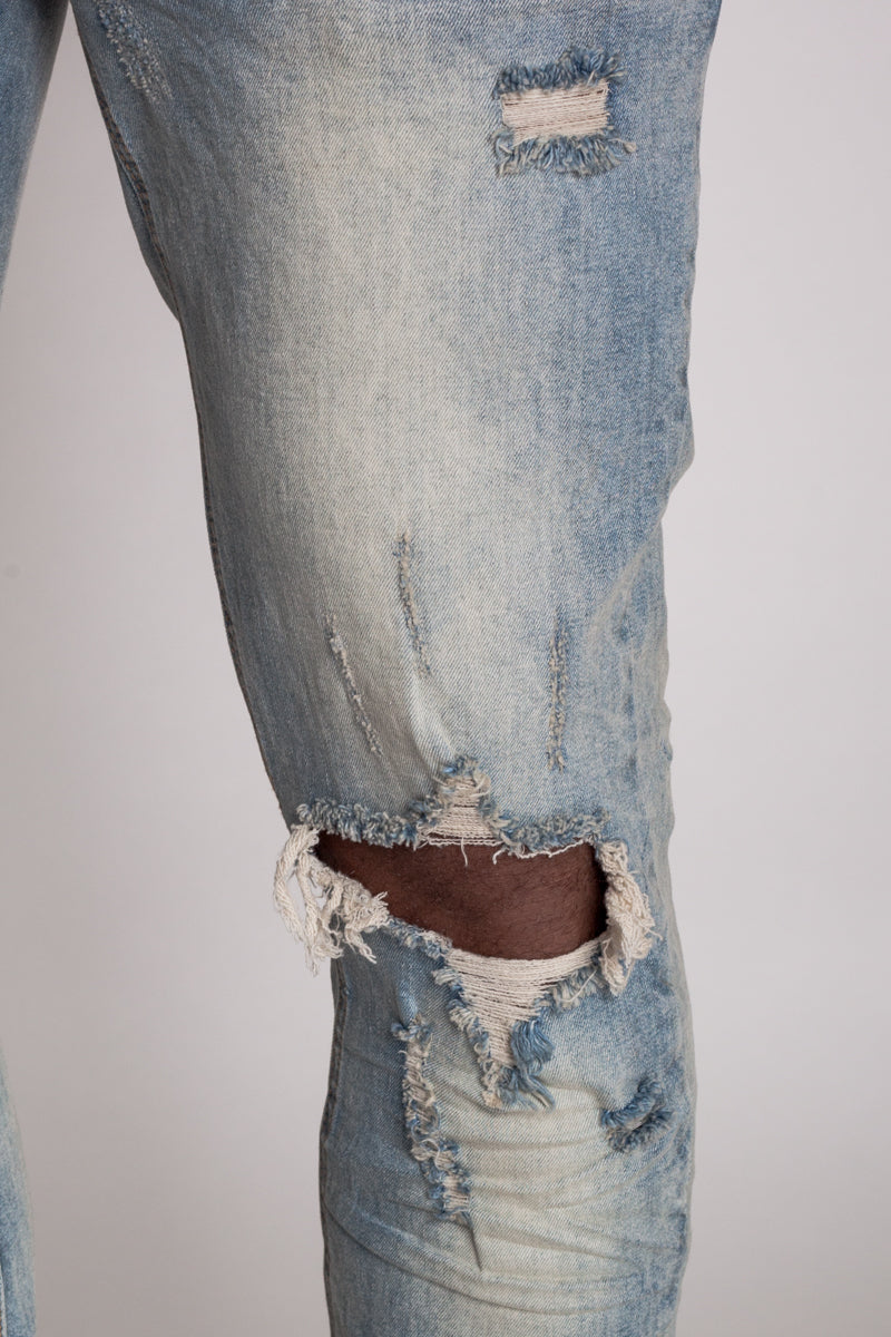 Destroyed at Knee Ankle Zip Jeans (Medium Vintage)