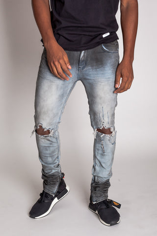 Destroyed at Knee Ankle Zip Jeans (Blue Smoke)