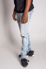 Destroyed Knee Ankle Zip Jeans (Vintage Lt. Blue)