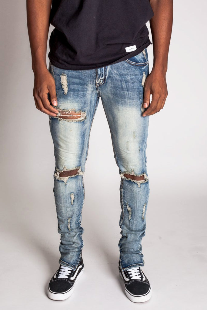 Destroyed Knee Ankle Zip Jeans (Vintage Med. Blue)
