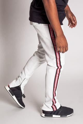 Techno Track Pants with Reflective Stripes (White)
