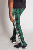 Triple Stripe Plaid Track Pants with Ankled Zippers (Green)