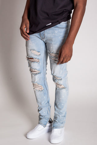 Paint Splatter Destroyed Ankle Zip Jeans (Light Blue)