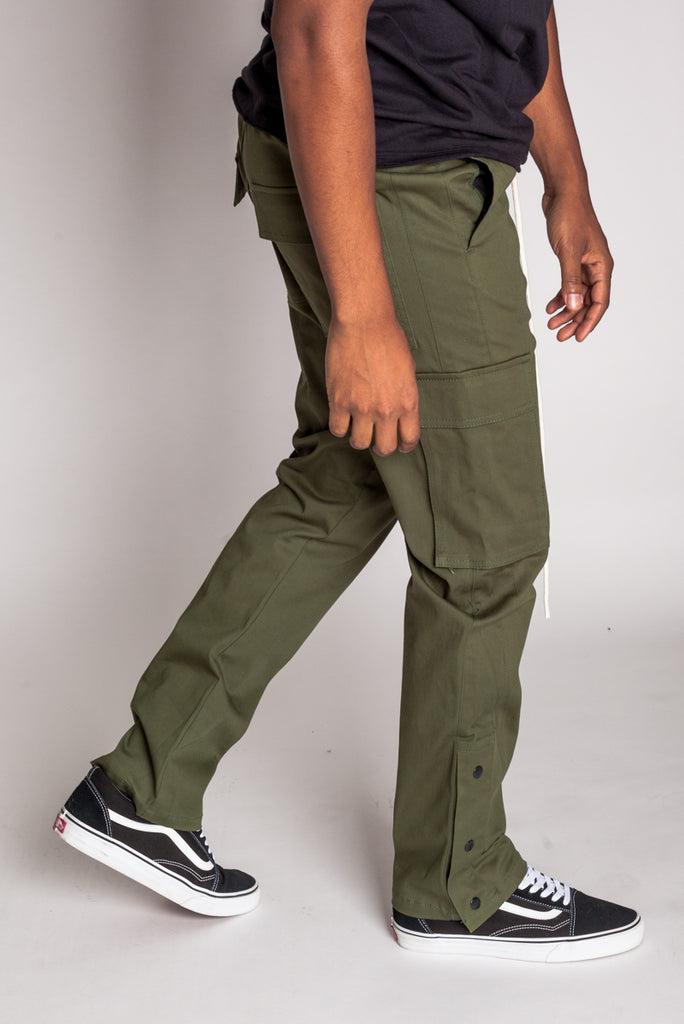 Snap Opening Cargo Pants (Olive)