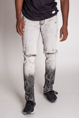 Black Paint Splatter Ankle Zip Jeans (Light Ice Gray)