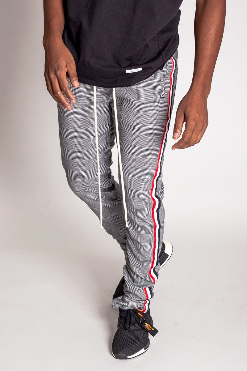 Triple Stripe Plaid Track Pants (Black/White)