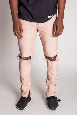 Colorful Dye Ankle Zip Pants (Dusty Pink)