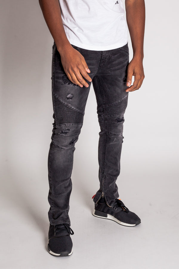 Destroyed Moto Ankle Zip Jeans (Dark Medium Gray)