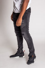 Destroyed Moto Ankle Zip Jeans (Dark Gray)