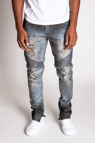 Destroyed Moto Ankle Zip Jeans (Blue Smoke)