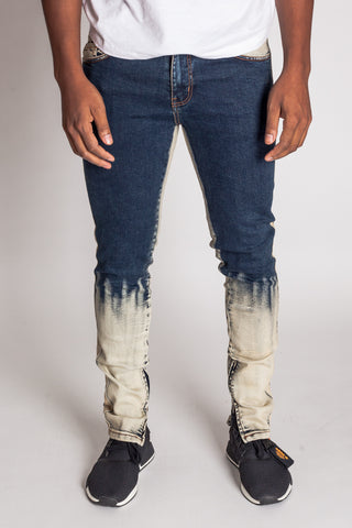 Bleached Ankle Zip Jeans with Stripes (Indigo)