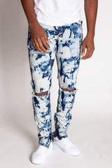 Destroyed Knee Ankle Zip Jeans (Bleached Indigo)