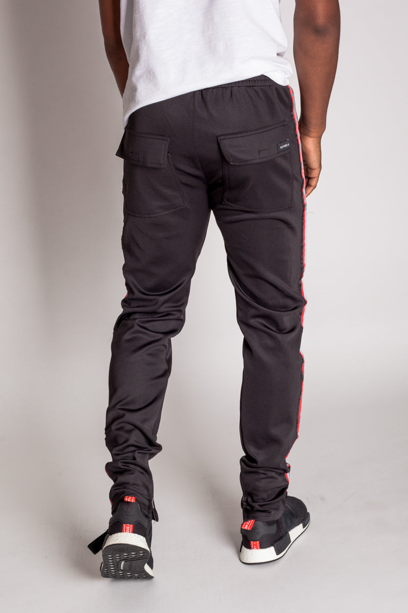 Techno Track Pants with Reflective Stripes (Black)