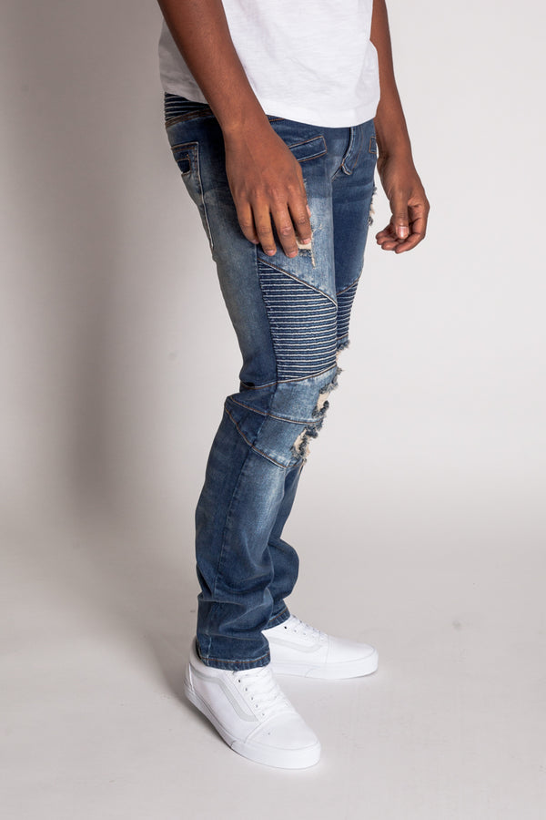 Destroyed Moto Jeans (Tinted Dark Blue)
