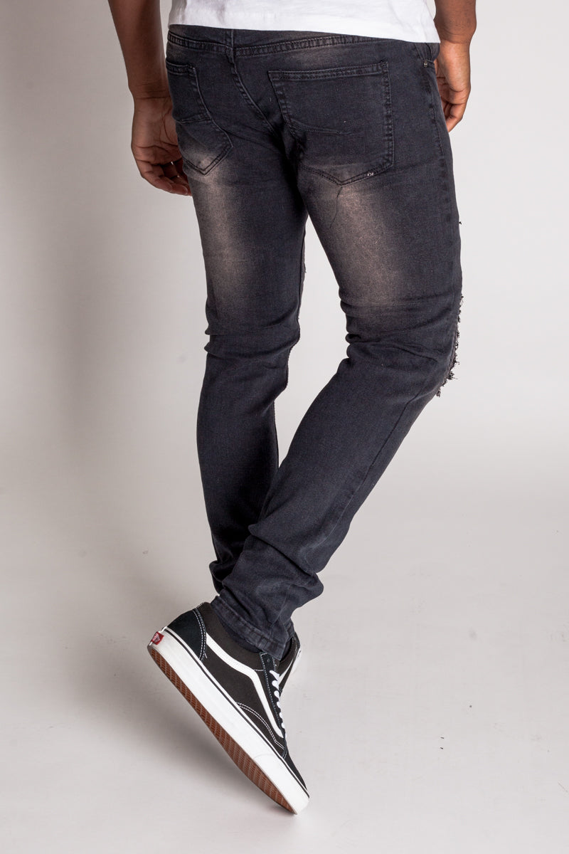 Distressed Moto Skinny Jeans (Black)