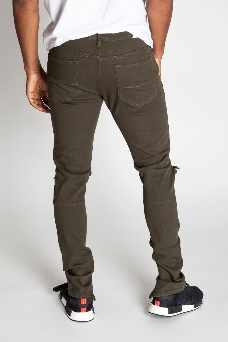 Destroyed at Knee Ankle Zip Jeans (Olive)