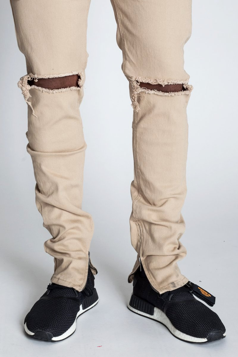Destroyed at Knee Ankle Zip Jeans (Khaki)