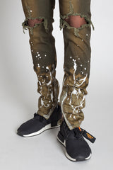 Paint Splatter Ankle Zip Jeans (Olive)