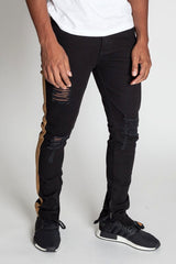 Striped Ankle Zip Pants (Black)