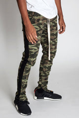 Striped Track Pants with Ankled Zippers (Camo/Black Stripes)