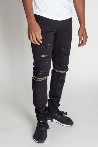 Destroyed Jeans with Knee Zips (Black)