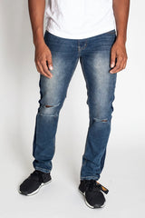 Side Striped Jeans with Knee Slit (Aged Blue)
