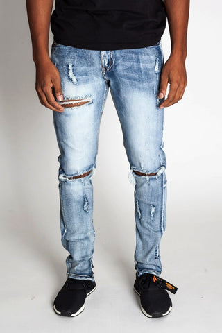 Destroyed Knee Ankle Zip Jeans (Med. Blue)