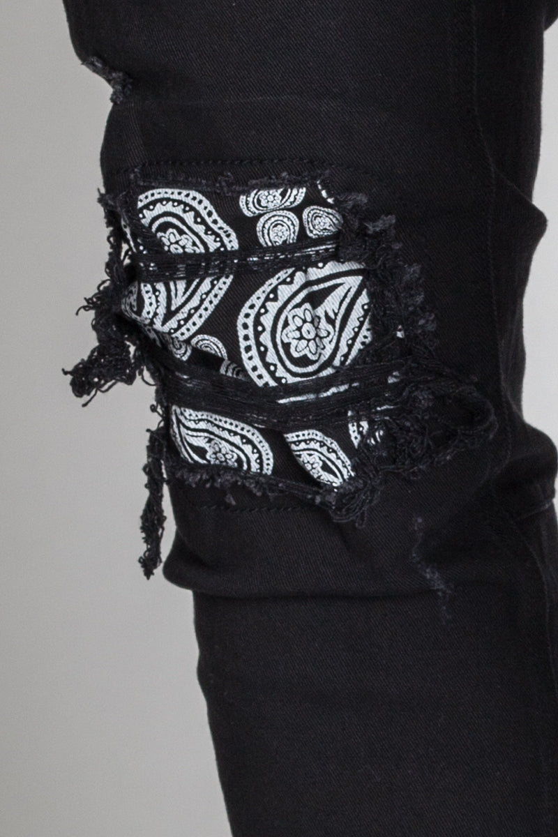 Paisley Patch Ankle Zip Jeans (Black)