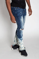 Painter's Distressed Ankle Zip Jeans (Dark Med. Blue)