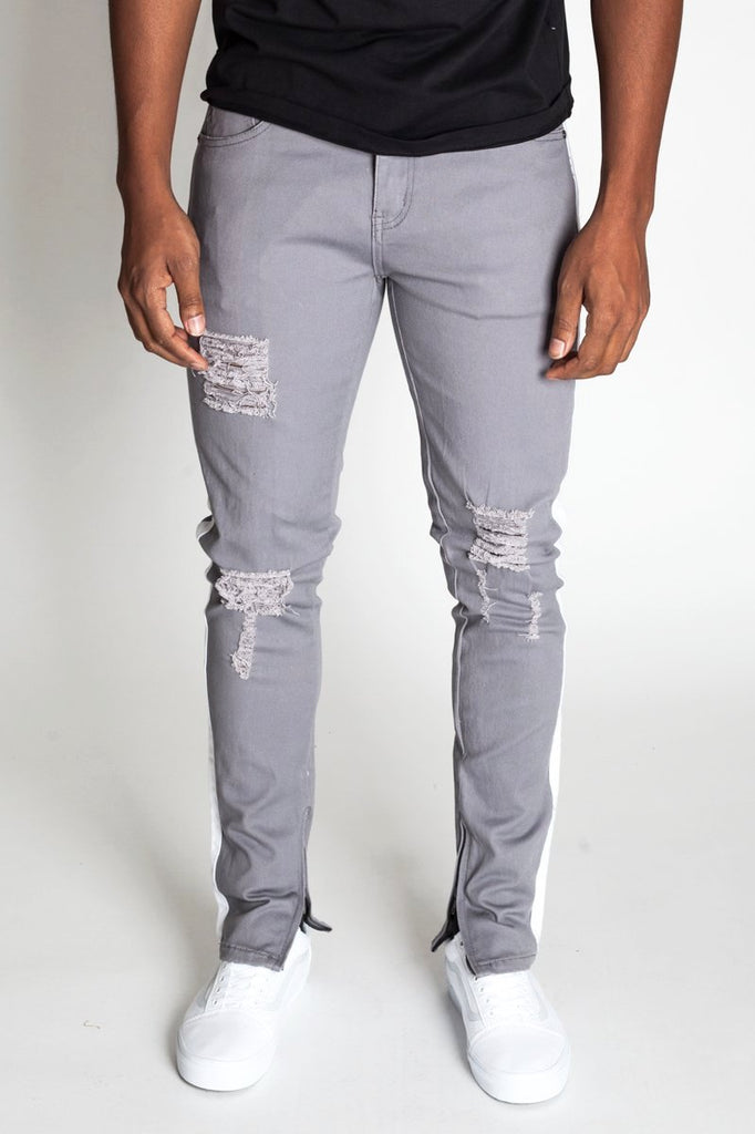 Striped Ankle Zip Pants (Grey)