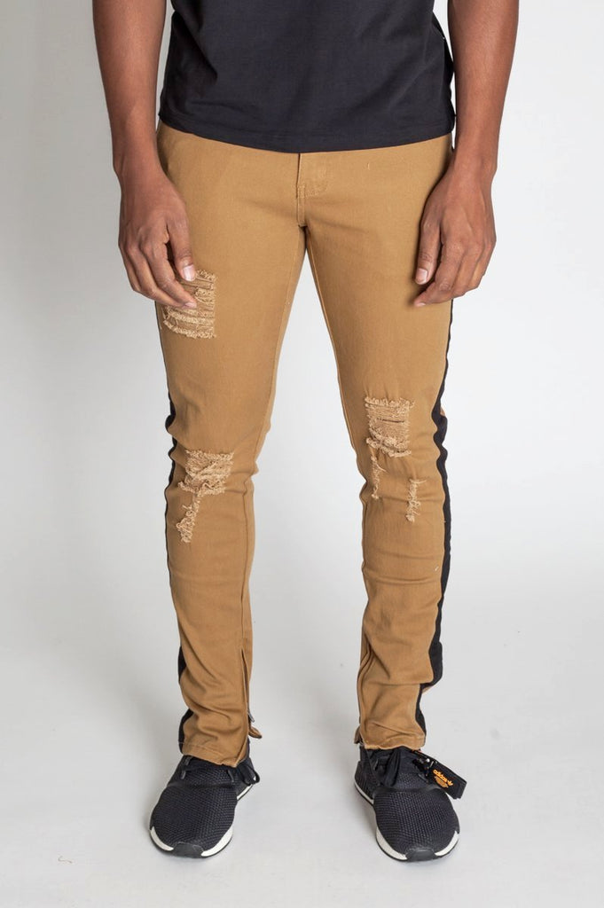 Striped Ankle Zip Pants (Wheat)