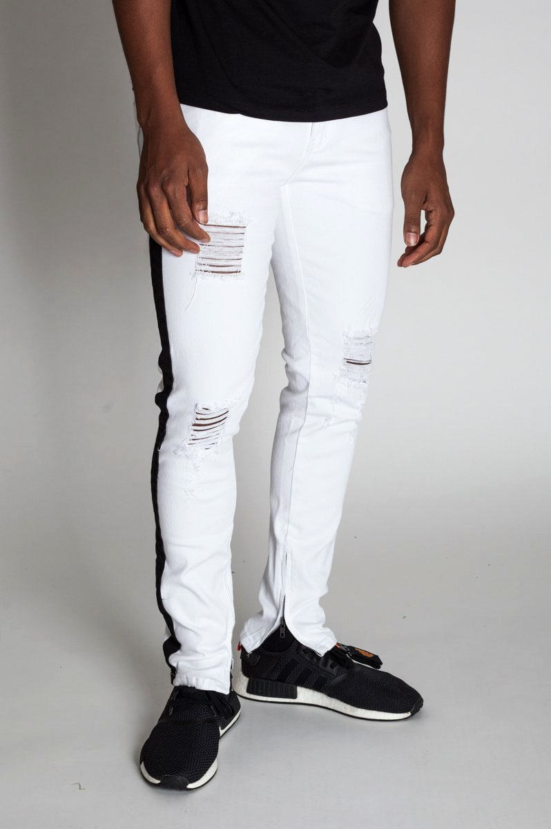 Striped Ankle Zip Pants (White)
