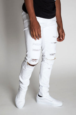 Destroyed Jeans with Knee Zips (White)