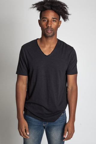 Raw Edge V-Neck Tee