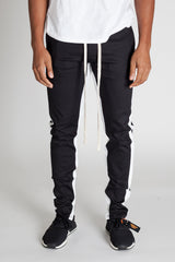 Striped Track Pants with Ankled Zippers (Black/White Stripes)