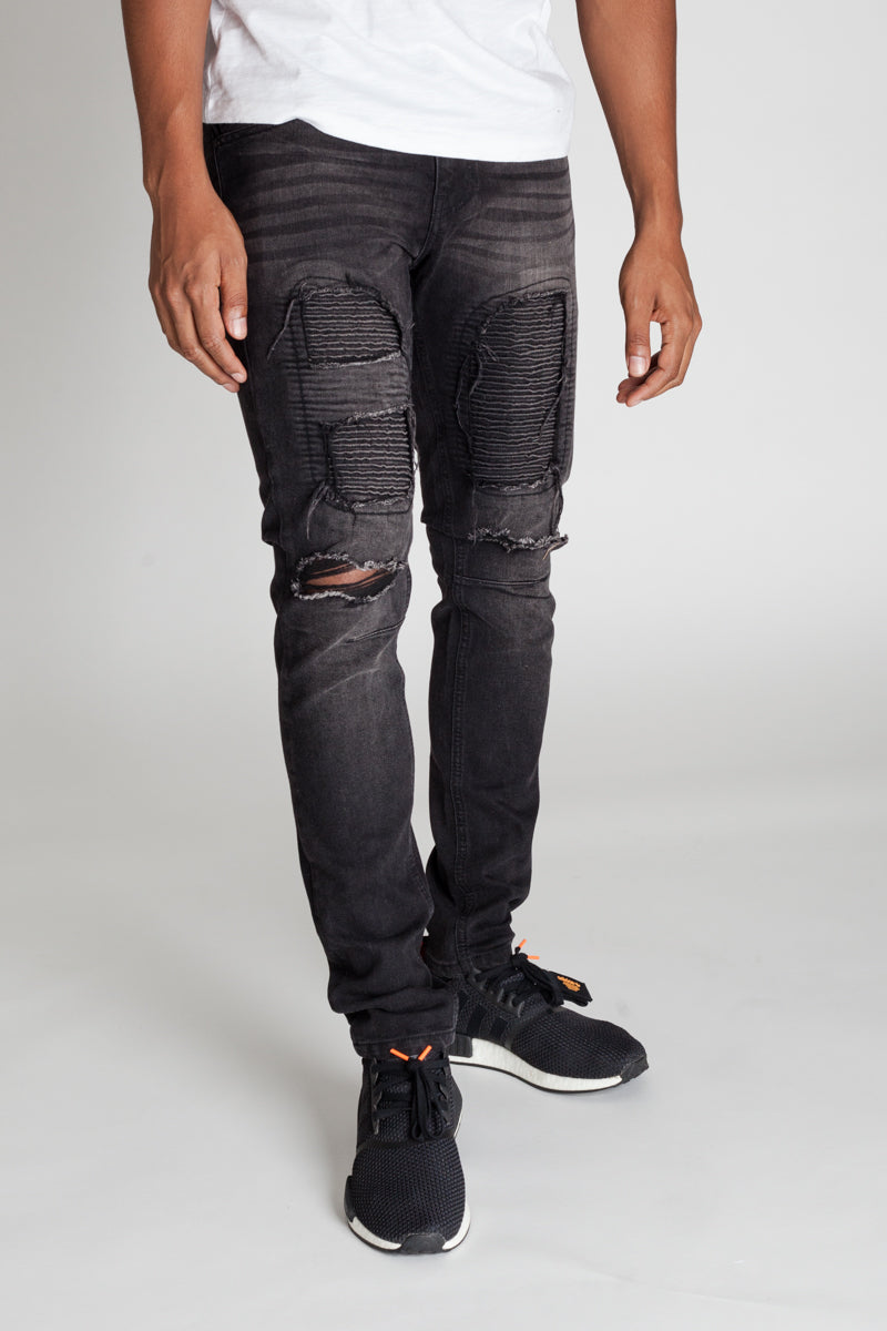 Distressed Moto Patch Jeans (Black)