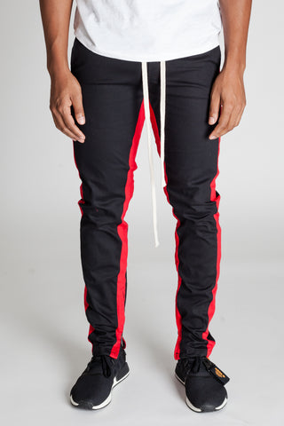 Striped Track Pants with Ankled Zippers (Black/Red Stripes)