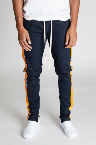 Striped Track Pants with Ankled Zippers Ver. 2.0 (Midnight Navy/Orange)
