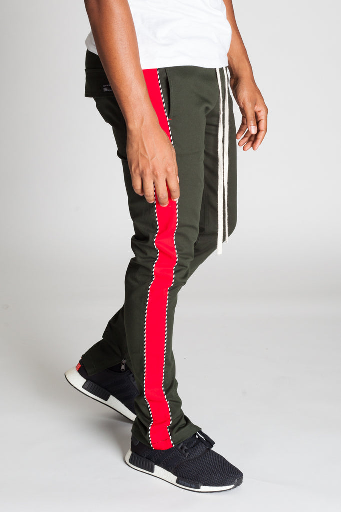 Striped Track Pants with Ankled Zippers Ver. 2.0 (Hunter Green/Red)