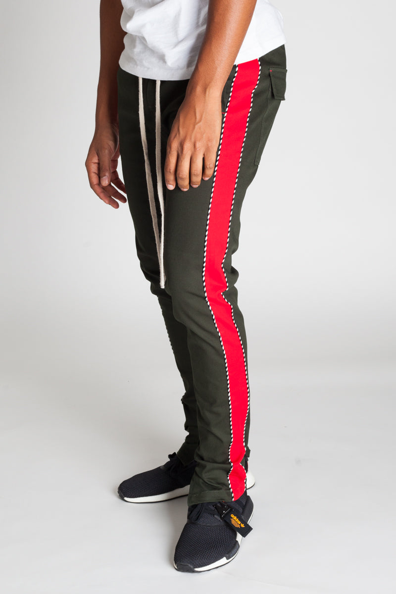 Striped Track Pants with Ankled Zippers Ver. 2.0 (Olive/Red)